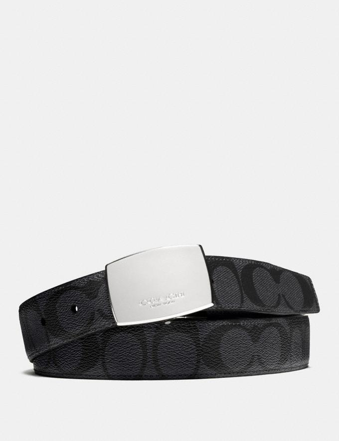 Coach Dress Plaque Cut-To-Size Reversible Belt in Signature Canvas Charcoal/Black