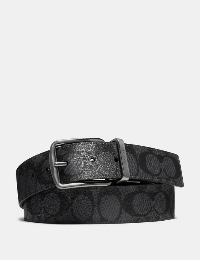 Coach Wide Harness Cut-To-Size Reversible Belt in Signature Canvas Charcoal/Black DEFAULT_CATEGORY