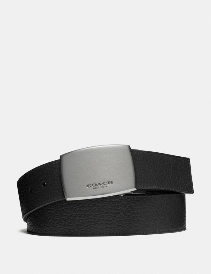 Coach Wide Plaque Cut-To-Size Reversible Belt Black/Dark Brown Men Belts