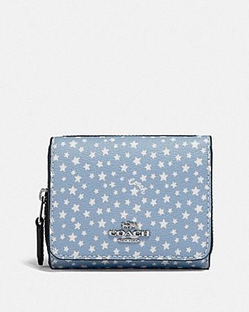 SMALL TRIFOLD WALLET WITH DITSY STAR PRINT