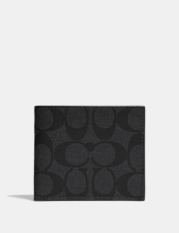 Coach Id Billfold Wallet in Signature Canvas Charcoal/Black/Black Antique Nickel
