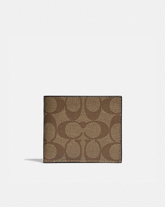 Coach ID BILLFOLD WALLET IN SIGNATURE CANVAS