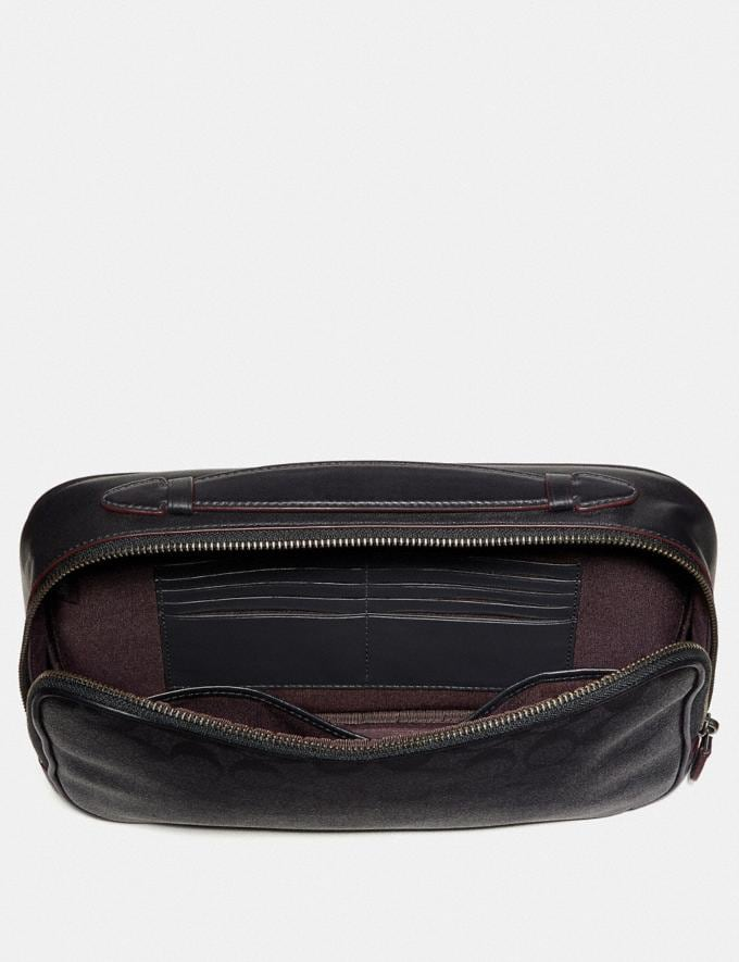 Coach Multifunction Pouch in Signature Canvas Black/Black/Oxblood Explore Men Explore Men Travel Alternate View 1