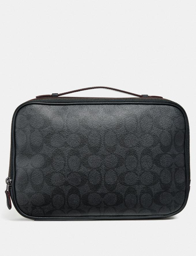 Coach Multifunction Pouch in Signature Canvas Black/Black/Oxblood Explore Men Explore Men Travel