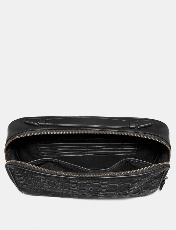 Coach Multifunction Pouch in Signature Leather Black/Black Antique Nickel Explore Men Explore Men Accessories Alternate View 1