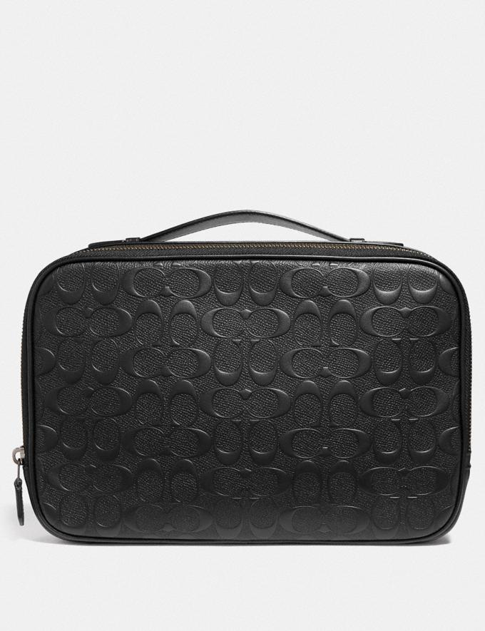 Coach Multifunction Pouch in Signature Leather Black/Black Antique Nickel Explore Men Explore Men Accessories