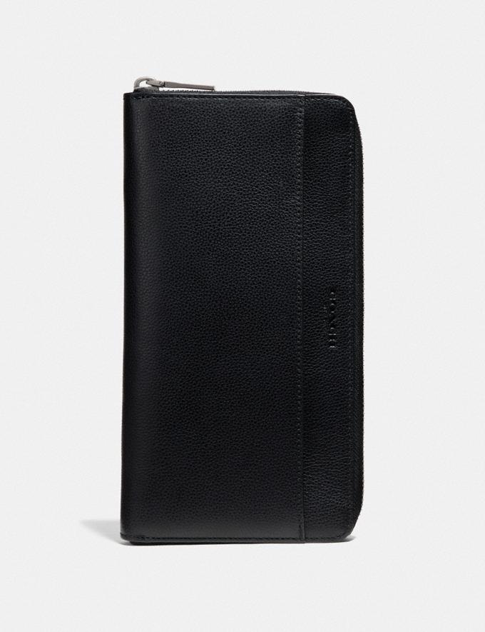 Coach Travel Wallet Black/Black Antique Nickel Men Travel
