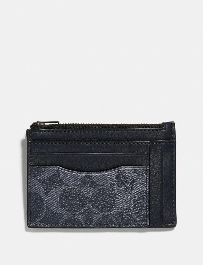 Coach Multiway Zip Card Case in Signature Canvas Denim/Black Antique Nickel Men Wallets
