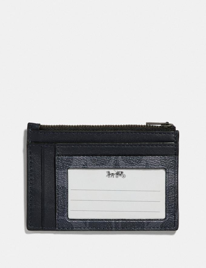Coach Multiway Zip Card Case in Signature Canvas Denim/Black Antique Nickel Men Wallets Alternate View 1