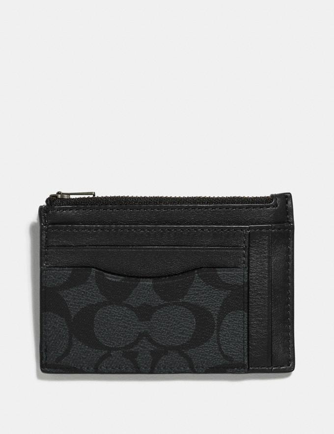 Coach Multiway Zip Card Case in Signature Canvas Charcoal/Black/Black Antique Nickel Men Wallets