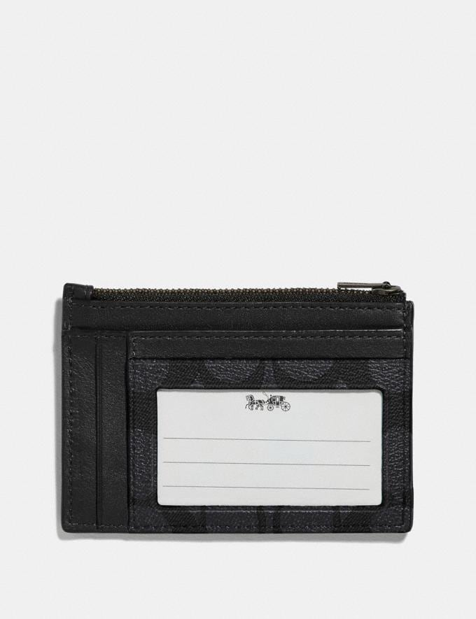 Coach Multiway Zip Card Case in Signature Canvas Charcoal/Black/Black Antique Nickel Men Wallets Alternate View 1