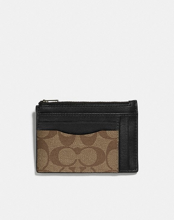Coach MULTIWAY ZIP CARD CASE IN SIGNATURE CANVAS