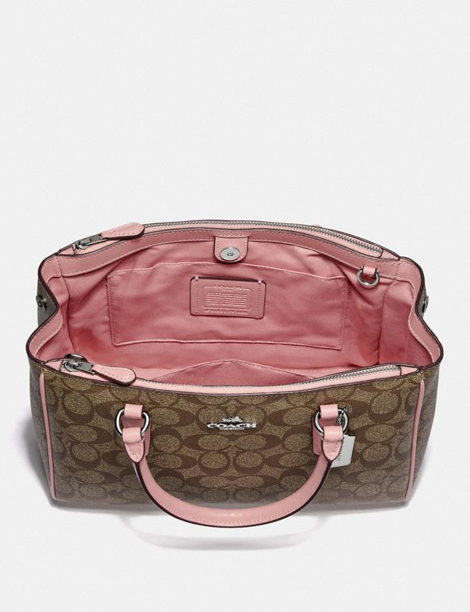 Coach Surrey Carryall in Signature Canvas Khaki/Pink Ruby/Gold Clearance Bags Alternate View 1