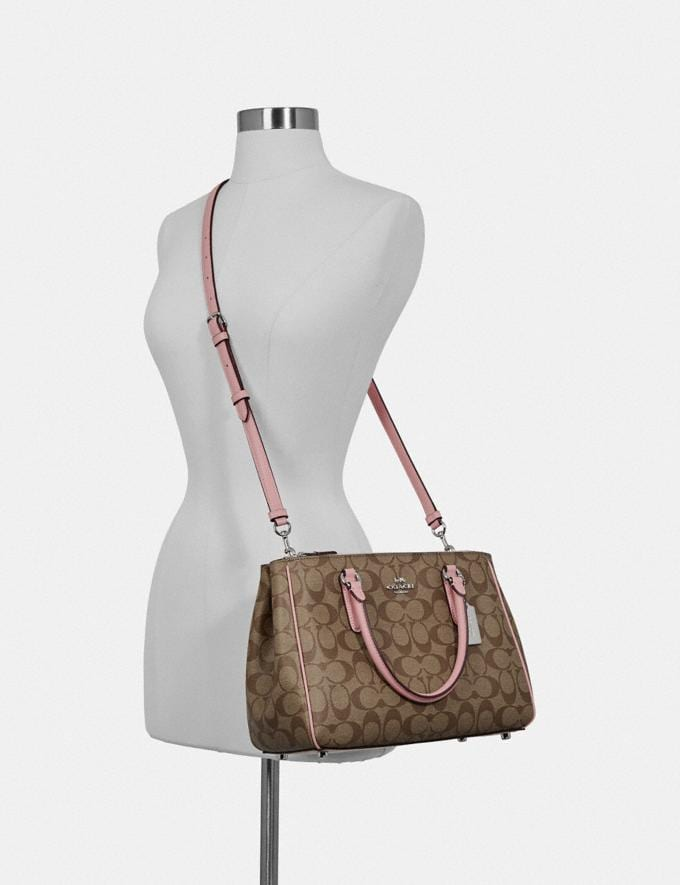 Coach Surrey Carryall in Signature Canvas Khaki/Pink Ruby/Gold Clearance Bags Alternate View 2