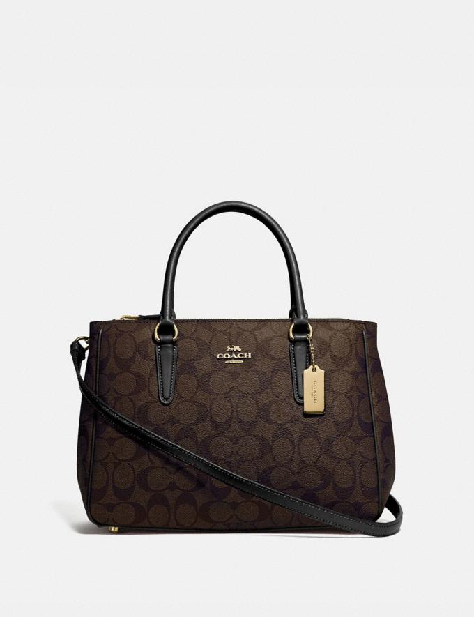 Coach Surrey Carryall in Signature Canvas Brown/Black/Imitation Gold