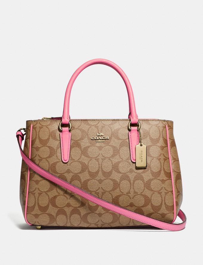 Coach Surrey Carryall in Signature Canvas Khaki/Pink Ruby/Gold Explore Women Explore Women Bags