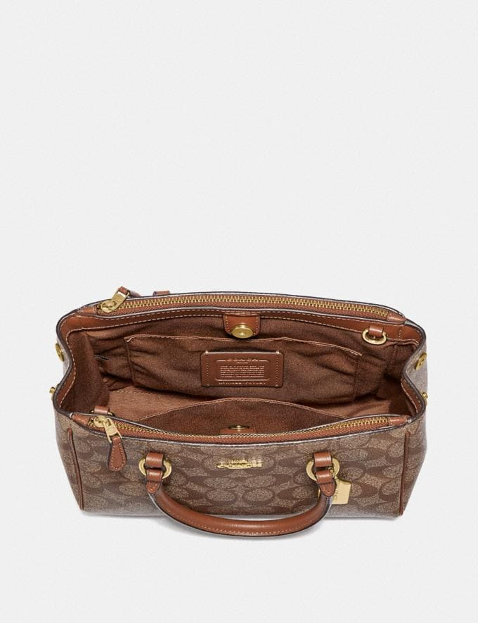 Coach Mini Surrey Carryall in Signature Canvas Brown/Black/Imitation Gold  Alternate View 1