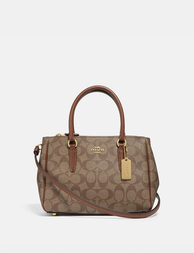 Coach Mini Surrey Carryall in Signature Canvas Khaki/Saddle 2/Imitation Gold Explore Bags Bags