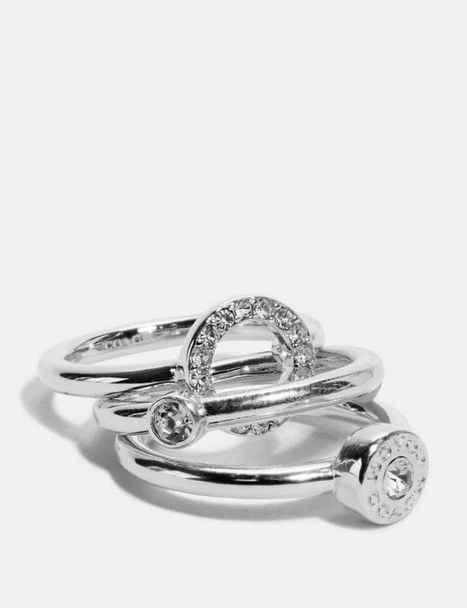 Coach Open Circle Halo Ring Set Silver