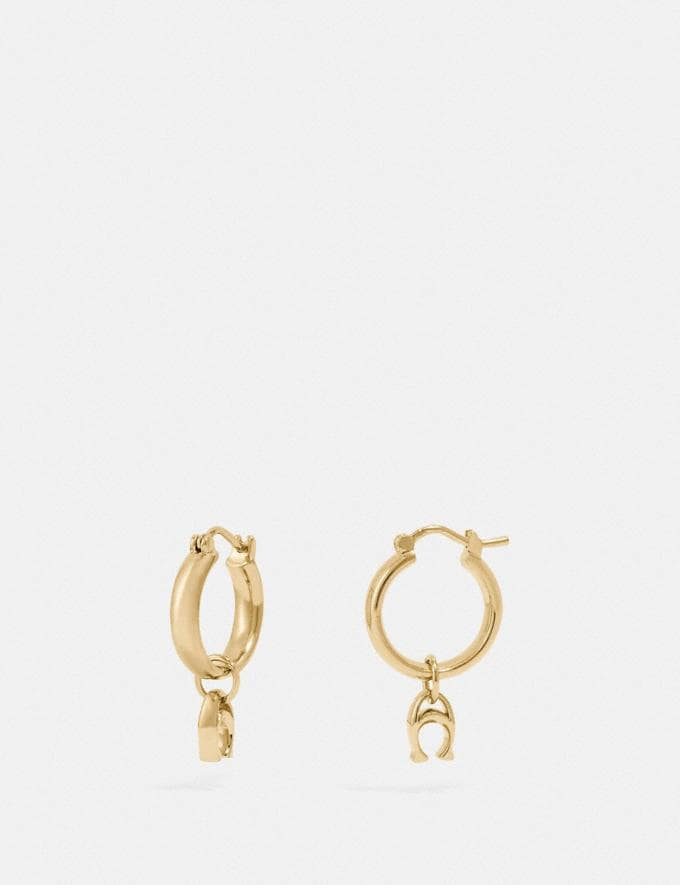 Coach Signature Huggie Earrings Gold
