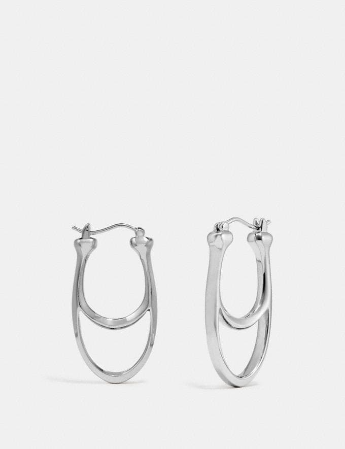 Coach Signature Hoop Earrings Silver