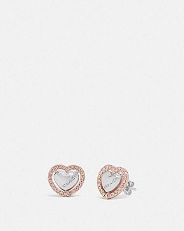 pearl heart halo stud earrings