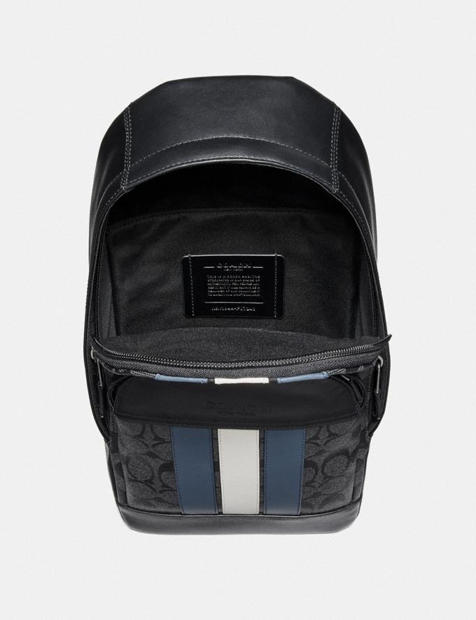 Coach Houston Pack in Signature Canvas With Varsity Stripe Charcoal/Denim/Chalk/Black Antique Nickel Explore Men Explore Men Bags Alternate View 1
