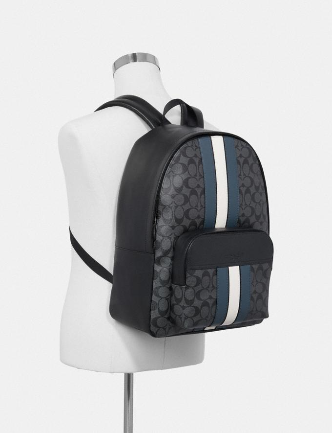 Coach Houston Backpack in Signature Canvas With Varsity Stripe Charcoal/Denim/Chalk/Black Antique Nickel Men Bags Alternate View 2