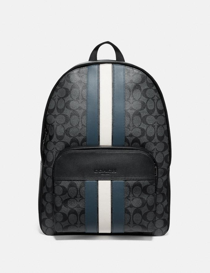 Coach Houston Backpack in Signature Canvas With Varsity Stripe Charcoal/Denim/Chalk/Black Antique Nickel Men Bags