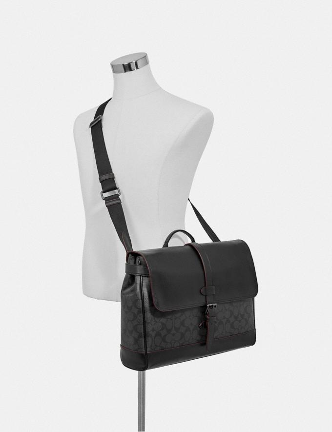 Coach Hudson Messenger in Signature Canvas Black/Black/Oxblood/Black Copper Finish Men Bags Alternate View 2