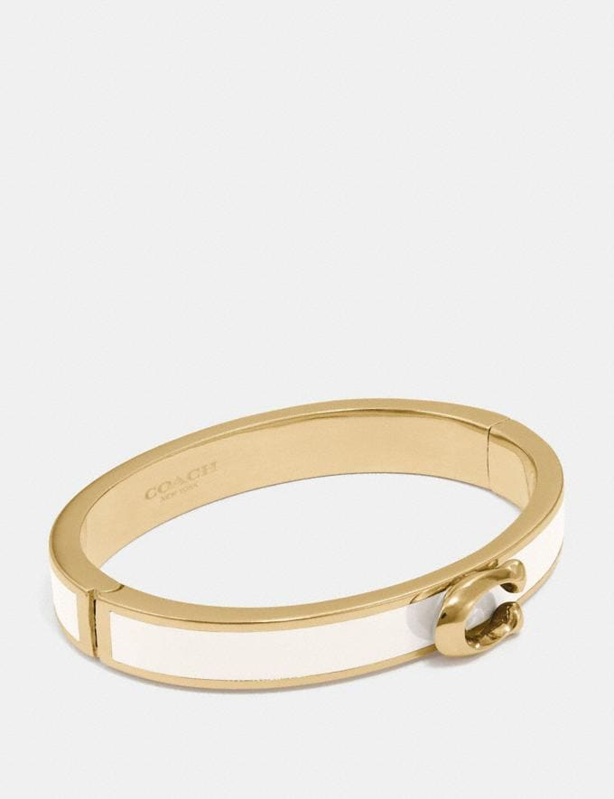 Coach Signature Push Hinged Bangle Gold/Chalk