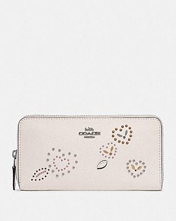 accordion zip wallet with heart bandana rivets