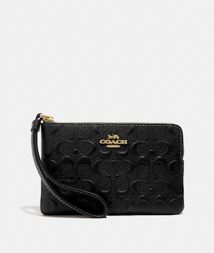 CORNER ZIP WRISTLET IN SIGNATURE LEATHER