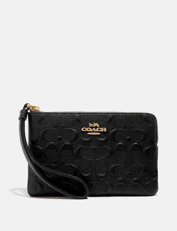 Coach Corner Zip Wristlet in Signature Leather Black/Gold