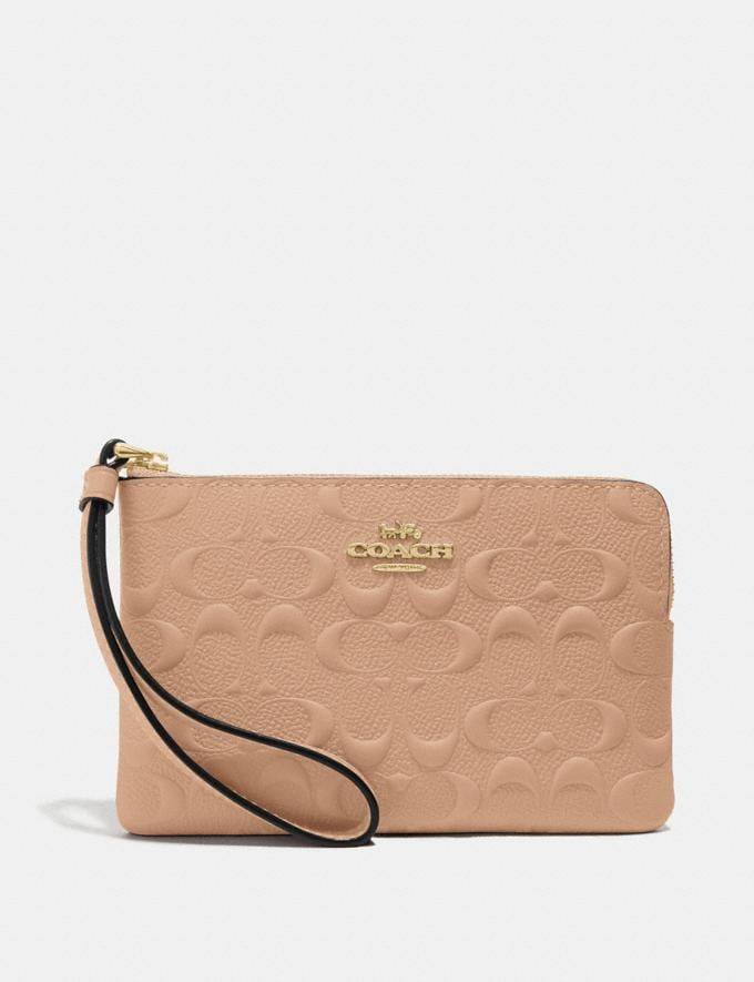 Coach Corner Zip Wristlet in Signature Leather Beechwood/Imitation Gold