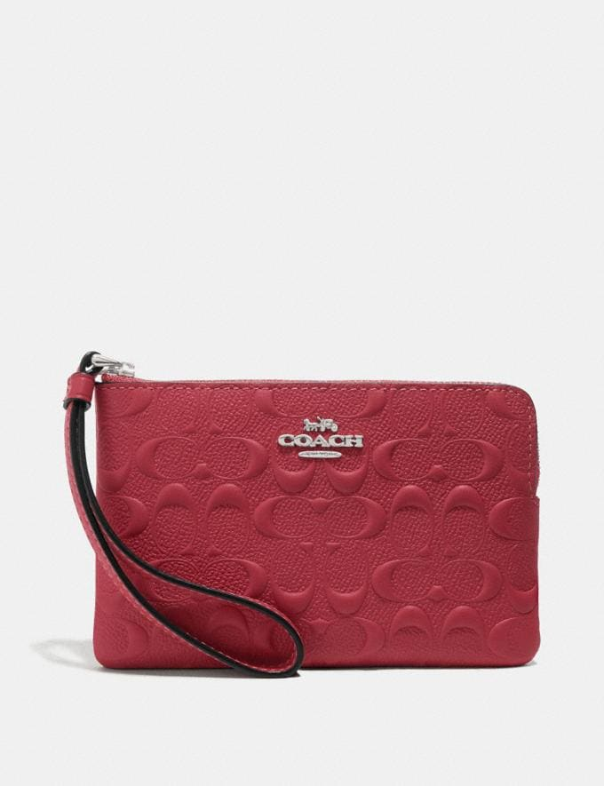 Coach Corner Zip Wristlet in Signature Leather Washed Red/Silver Clearance Takeover Clearance Takeover Wallets & Wristlets