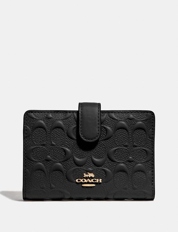 Coach Medium Corner Zip Wallet in Signature Leather Black/Gold