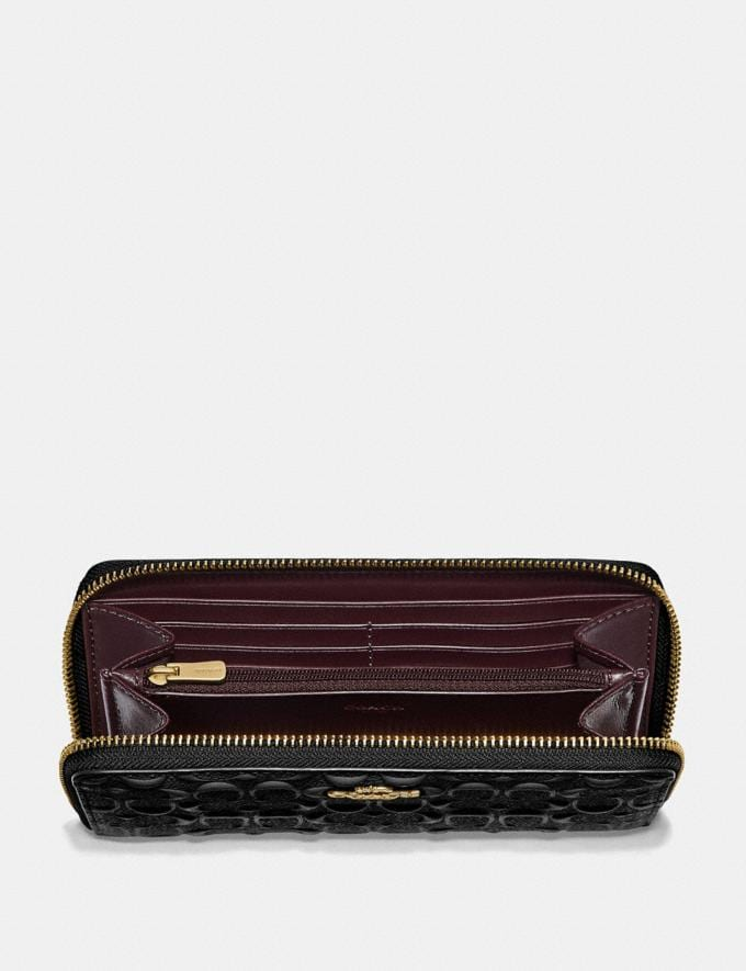 Coach Accordion Zip Wallet in Signature Leather Black/Imitation Gold Women Wallets Alternate View 1