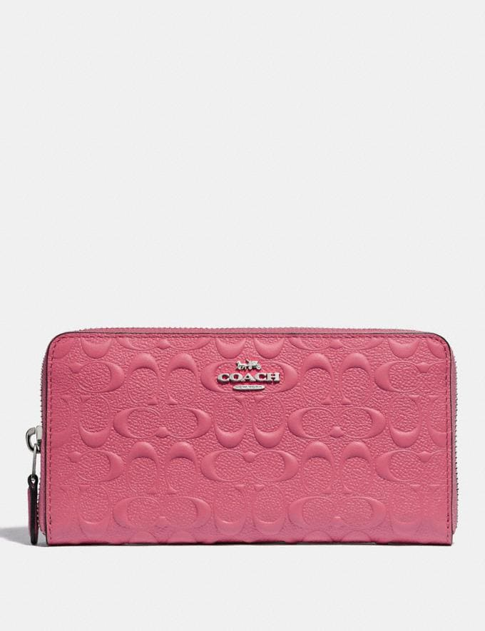 Coach Accordion Zip Wallet in Signature Leather Strawberry/Silver