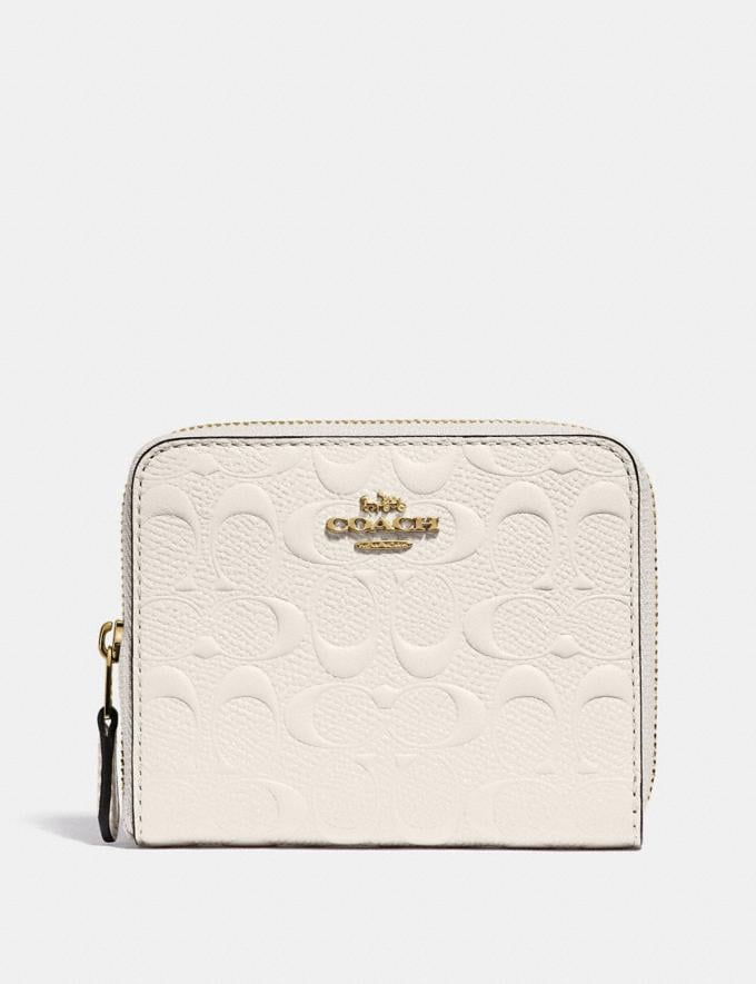 Coach Small Zip Around Wallet in Signature Leather Chalk/Gold