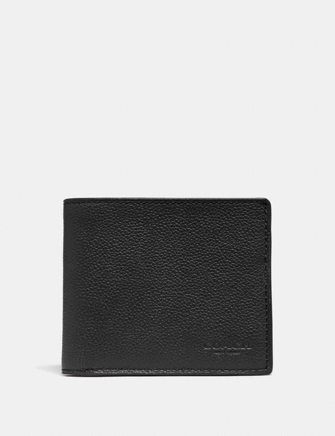 Coach Id Billfold Wallet Black/Black Antique Nickel
