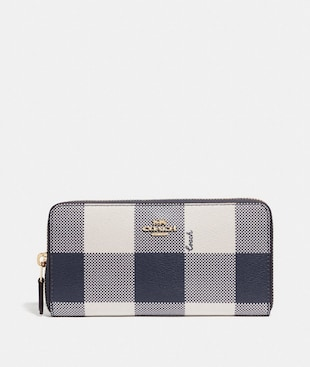 ACCORDION ZIP WALLET WITH BUFFALO PLAID PRINT