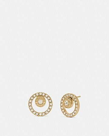 open circle halo stud earrings