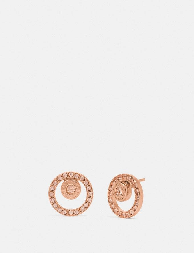 Coach Open Circle Halo Stud Earrings Rosegold