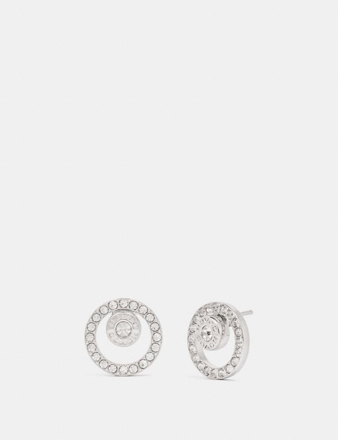 Coach Open Circle Halo Stud Earrings Silver