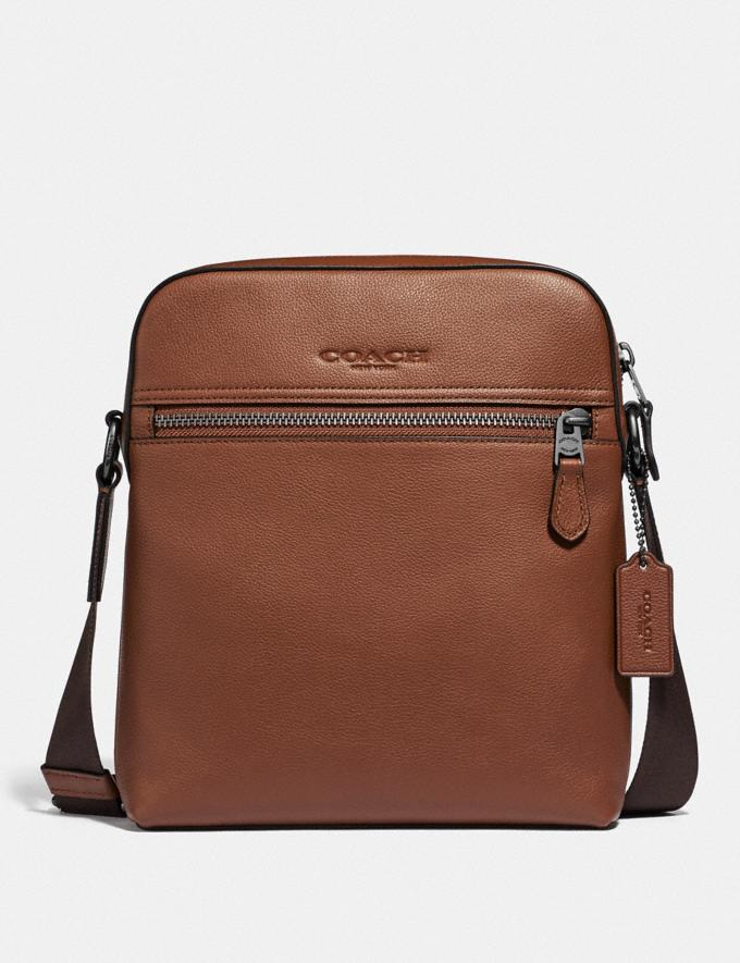 Coach Houston Flight Bag Saddle/Black Antique Nickel Men Bags