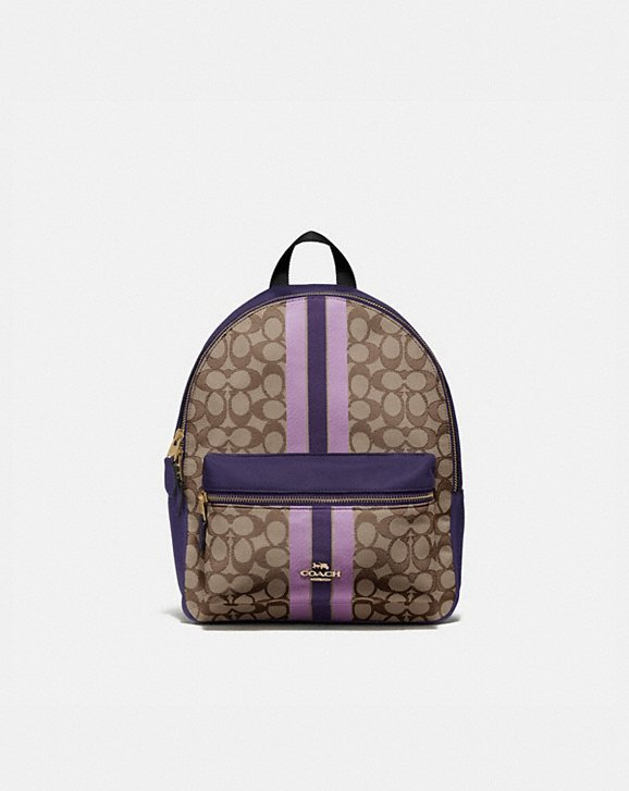 Coach MEDIUM CHARLIE BACKPACK IN SIGNATURE JACQUARD WITH STRIPE