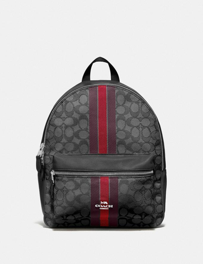 Coach Medium Charlie Backpack in Signature Jacquard With Stripe Red Multi/Silver Bags Backpacks