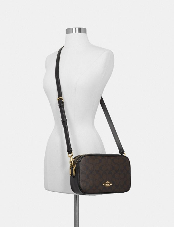 Coach Jes Crossbody in Signature Canvas Brown/Black/Light Gold Women Bags Alternate View 2