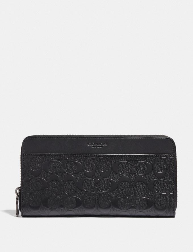 Coach Travel Wallet in Signature Leather Black/Black Antique Nickel
